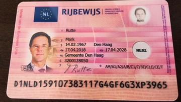 Za 80 euro kupili fałszywe prawo jazdy premierowi Holandii. Na polskiej stronie internetowej